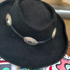Wool western style small brim hat w accents